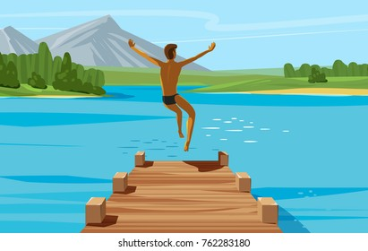 Vacation, weekend, relax concept. Young man jumping into lake or water. Vector illustration