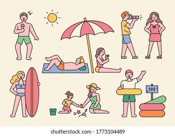 Vacationers are enjoying their vacation on the summer beach. flat design style minimal vector illustration.