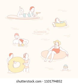 A vacationers are taking a tube in the sea and they are swimming. hand drawn style vector doodle design illustrations.