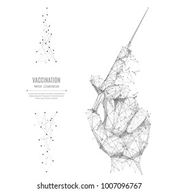 Vaccination. Abstract mash line and point syringe in hand origami on white background with an inscription. Starry sky or space, consisting of stars and the universe. Vector medicine illustration