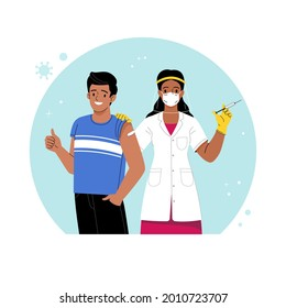 Vaccination against coronavirus. Vector illustration of cartoon Indian female doctor with a syringe in her hand and a patient with a patch on his shoulder. Isolated on background