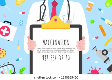 Vaccination banner concept flat style design poster. Male man doctor employee on it holding clipboard and arounded with hospital equipment and medicines. Medical awareness flu, polio influenza banner.