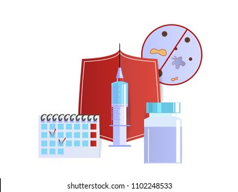 Vaccination of children and adult vector. Needle and syringe, vaccine, shield and vaccination schedule. Injection and health care concept. Drug against the flu. Flat style.