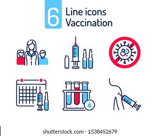 Vaccination color line icons set. Family, syringe and ampoules, virus protection, test tube. Pictogram for web, mobile app, promo. UI/UX design element. Editable stroke.