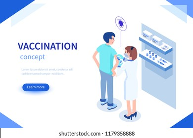Vaccination concept with characters. Can use for web banner, infographics, hero images. Flat isometric vector illustration.