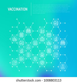 Vaccination concept in honeycombs with thin line icons: vaccine, syringe, ampoule, vial, microscope, virus, DNA, hospital, ambulance. Vector illustration, web page template.