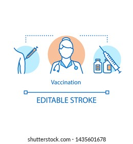 Vaccination concept icon. Immune system protection idea thin line illustration. Active and passive immunisation. Patient medical protection. Vector isolated outline drawing. Editable stroke