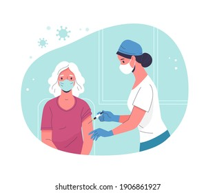 Vaccination of the elderly. Vector modern illustration of a senior woman and a doctor with a syringe. Isolated on abstract background