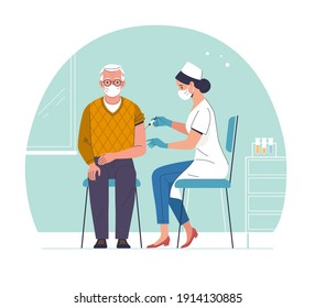 Vaccination of the elderly. Vector modern illustration of a senior man and a doctor with a syringe. Isolated on abstract background