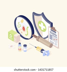 Vaccination equipment isometric color vector illustration. Healthcare, immunisation. Disease prevention and health promotion. Vaccination records, vial and syringe, virus, magnifying glass 3d concept