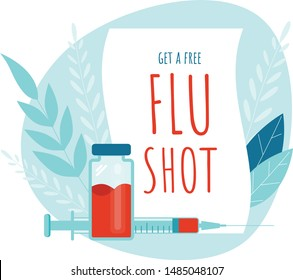 Vaccination. Get a free Flu Shot. Medical poster. Health care. Vector medicine