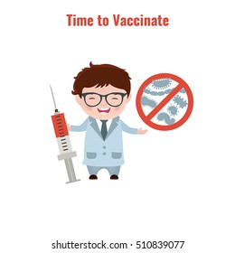 Vaccination and health concept. Illustration of a doctor with a syringe in his hand. Medical immunization.