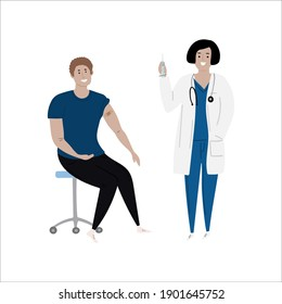 Vaccination immunity cartoon caucasian female doctor with syringe and caucasian, white male patient.