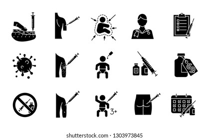 Vaccination and immunization glyph icons set. Silhouette symbols. Vaccines for kids, adults. Flu, hepatitis diseases prevention. Viral and bacterial infections tolerance. Vector isolated illustration