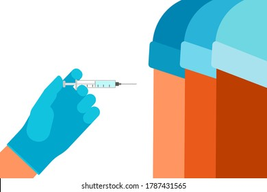 Vaccination of people for prevention, immunization and treatment from virus infection. Vaccine and syringe injection. Doctor hand with syringe. Medicine, flu shot, blood test with needle. Vector