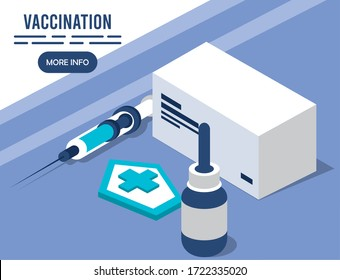 vaccination service with injection isometric icons vector illustration design