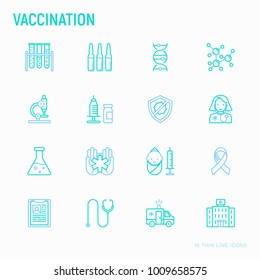 Vaccination thin line icons set: vaccine, syringe, ampoule, vial, microscope, virus, DNA, hospital, ambulance. Modern vector illustration.