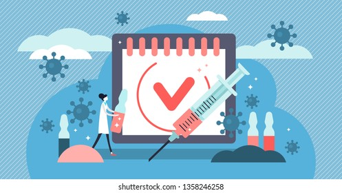 Vaccination vector illustration. Flat tiny virus injection persons concept. Preventive medication dose to protect body from epidemic infection, virus, disease and illness. Bacteria outbreak immunity.