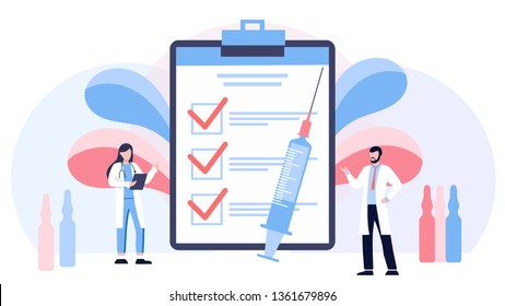 Vaccination vector illustration. Flat virus injection persons concept. Preventive medication dose to protect body from epidemic infection, virus, disease and illness. Bacteria outbreak immunity.