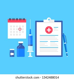 Vaccination. Vector illustration. Immunization concepts. Flat design. Syringe, vaccine bottle, pen, clipboard with vaccination records, calendar with date to vaccinate