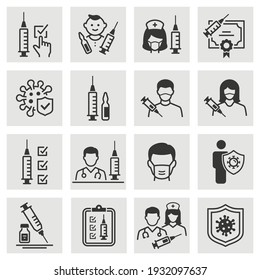 Vaccine icon set. Collection of injection, syringe, immune, virus and more. Vector illustration.a