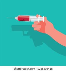 Vaccine kills, danger of vaccination, vector illustration