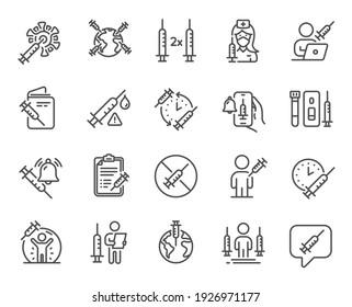Vaccine line icons. Corona jab, Medical Syringe, Vaccination passport icons. Covid vaccine, Human jabbed and Coronavirus dose. Syringe needle, Corona injection, Vaccination notification. Vector