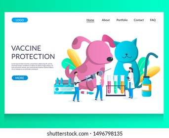 Vaccine protection vector website template, web page and landing page design for website and mobile site development. Pets vaccination concept.