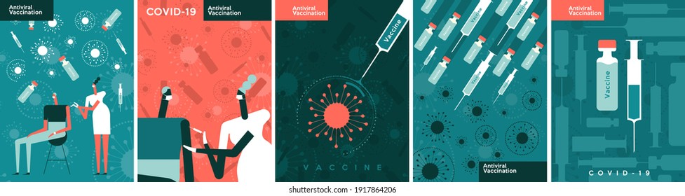 Vaccine and virus vaccination. A set of vector illustrations. A doctor gives a vaccination. A syringe of vaccine kills the virus.