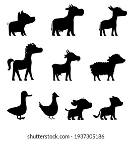 Vactor farm animals black silhouette. Pig, horse, cow, donkey, hen, sheep, goat, cat, dog
