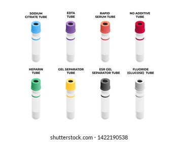 Vacutainers various types set in isometric design isolated on white background. Blood collection tubes icon set in flat design.
