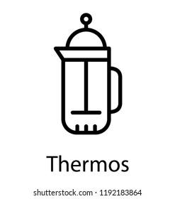 A vacuum bottle having liquid to drink during travel depicting percolator