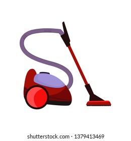 Dibujo de caricatura de aspirador. Dispositivo rojo con manguera y mop. Concepto de dispositivo doméstico. La ilustración vectorial se puede utilizar para temas como limpieza, limpieza, alfombra