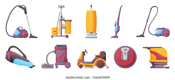 Vacuum cleaner cartoon vector illustration on white background . Set icon vacuum cleaner for cleaning .Cartoon vector icon for cleaning carpet.