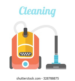 Vacuum cleaner. Cleaning flat illustration concept. Flat design concepts for web banners, web sites, printed materials, infographics. Creative vector illustration. Isolated on white background