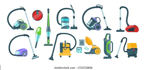 Vacuum cleaner equipment cartoon set. Washing robot cyclone and car vacuum cleaner. Professional cleaning equipment for home and business vector illustration