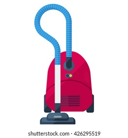 Vacuum cleaner flat icon. Red dustsucker. Domestic hoover.