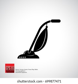 Vacuum cleaner icon, hand model with dust bag. Cleaning service device.