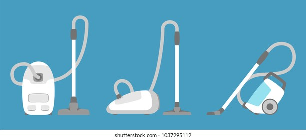 Vacuum cleaner icon isolated. Household appliance. Flat style vacuum cleaner. Vector illustration.