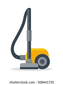 Vacuum cleaner icon isolated on white. Electrical vacuum cleaner hoover. Equipment for house cleaning tool device. Domestic cleaning machine symbol sign in flat style. Vacuum sweeper. Vector