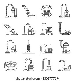 Vacuum cleaner icons set. Outline set of vacuum cleaner vector icons for web design isolated on white background