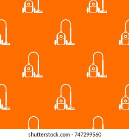 Vacuum cleaner pattern repeat seamless in orange color for any design. Vector geometric illustration