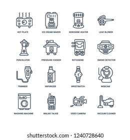 Vacuum cleaner, Video camera, Walkie talkie, Washing machine, Webcam, hot plate, percolator, trimmer, rotisserie outline vector icons from 16 set
