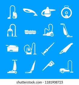Vacuum cleaner washing appliance icons set. Simple illustration of 16 vacuum cleaner washing appliance vector icons for web