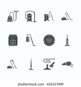 Vacuum cleaners flat glyph icons. Different types - industrial, household, handheld, robotic, canister, wet dry. Signs for housework equipment shop.