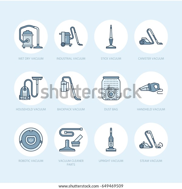 Vacuum Cleaners Flat Line Icons Different Stock Vector