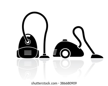 Vacuum cleaners set isolated on white background