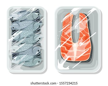 Vacuum packaging for best keeping food safe, storing, warehousing, transportation of ocean, river, sea fish. Seafood are on trays under saran wrap. Vector cartoon mockups isolated on white background.