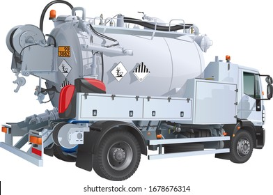 vacuum tank truck for cleaning stormwater and sewer networks