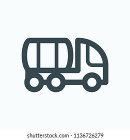 Vacuum tank truck icon, sewage truck vector icon